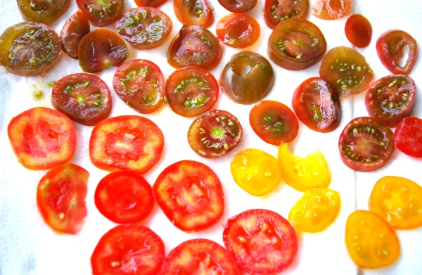 cut heirloom tomatoes
