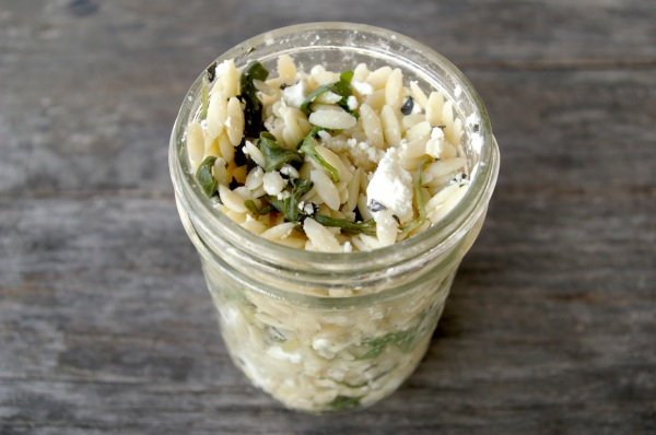 lemony orzo with arugula and goat cheese
