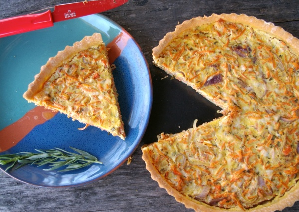 Carrot and Tarragon Tart Sliced